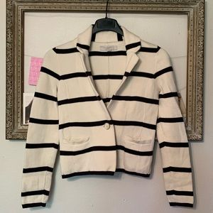 Loft Cream and Navy Striped Sweater Blazer